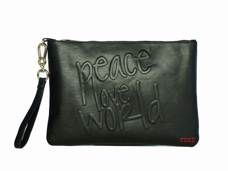 Picture Of Peace Love World Wristlet Clutch