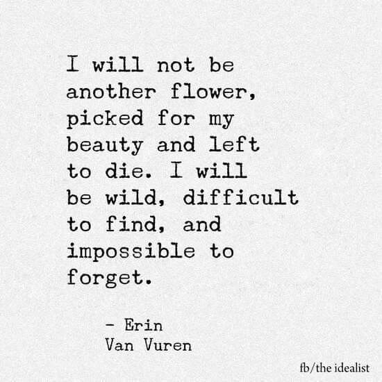 I Will Not Be Another Flower Picked For My Beauty And Left To Die I Will Be Wild Difficult To Fin And Impossible To Forget Erin Van Vuren