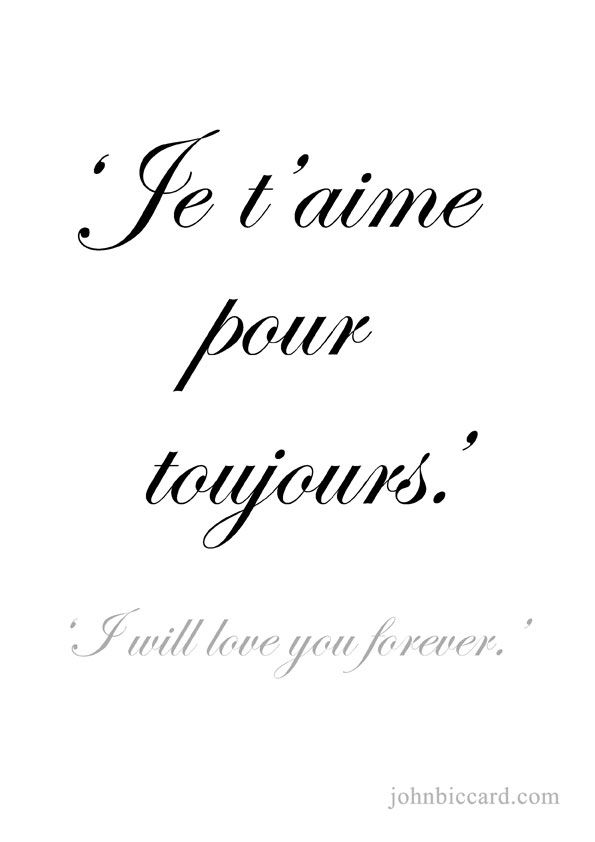 From French Words  C B  E   I Will Love You Forever