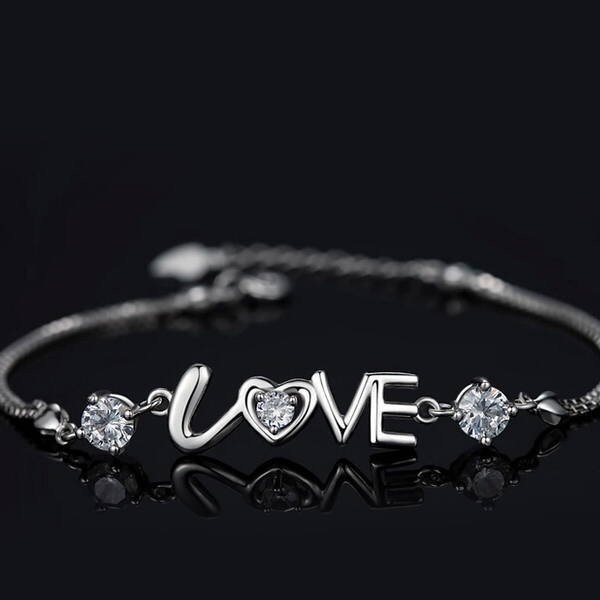 Girly Silvercelet With The Word Love Crystal Charm