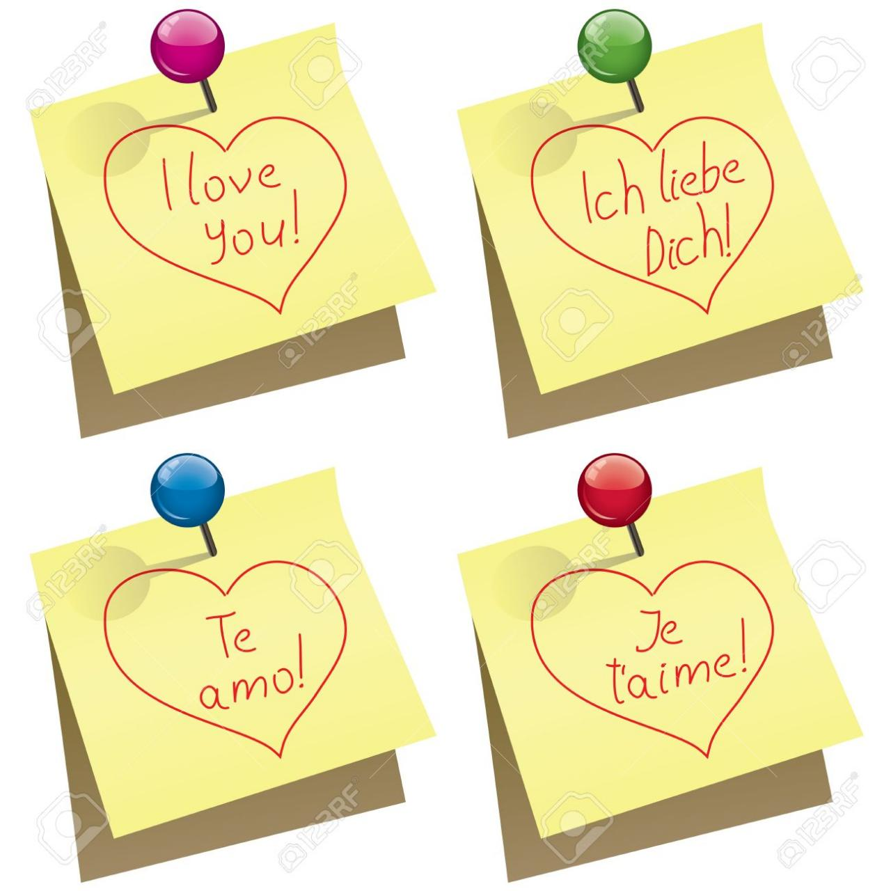 Vector Vector Yellow Paper Notes With Push Pin And I Love You Words In English German Spanish And French
