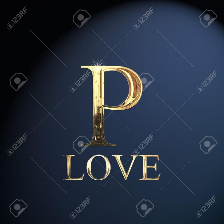 Gold Alphabet Letter P Word Love On A Blue Background Stock P O