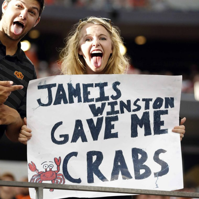 More Than A Dozen Jameis Winston Crab Signs At College Gameday