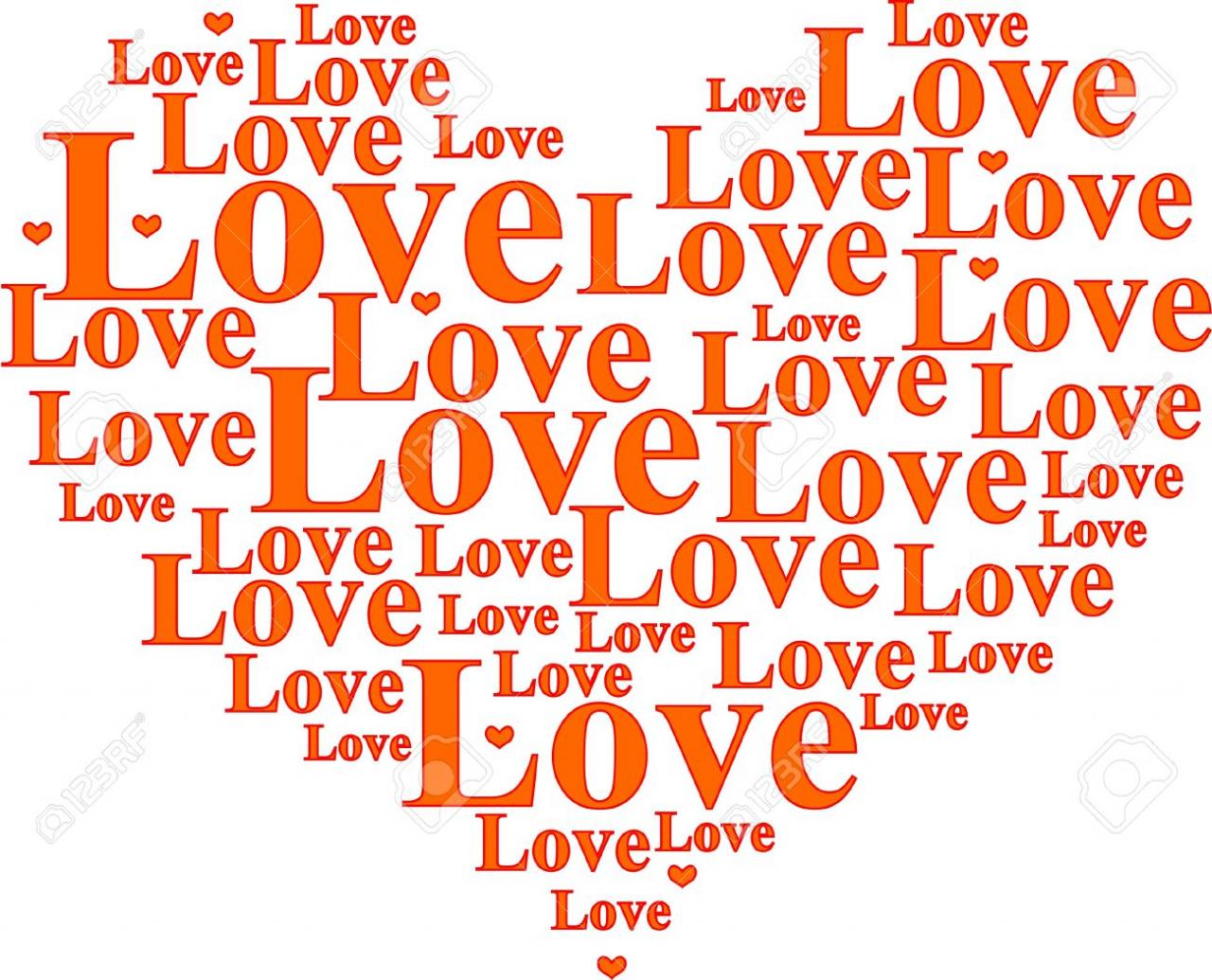 Vector Word Cloud With Horizontal Words Love Heart Shaped