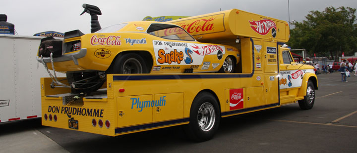 Old Race Car Haulers Yellow Bullets