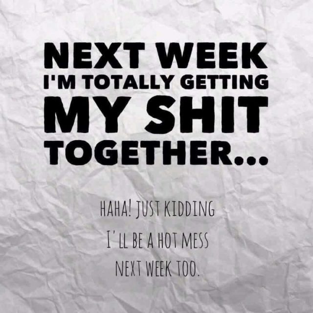 Next Week Im Totally Getting My Shit Together Just Kidding Ill Be A Hot Mess Next Week Too