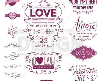 Love Digital Frames Clipart Digital Label Clip Art Set Heart Love Word Art
