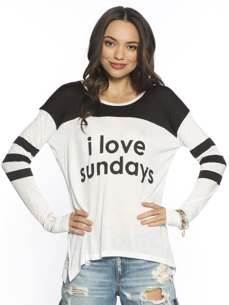 I Love Sundays White Tomboy L S Fashion Shirt