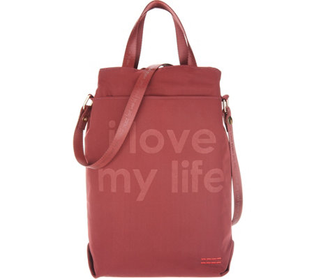 Peace Love World Nylon Wine Tote Bag With Strap