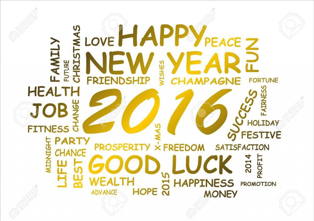 Stock P O Word Cloud For Happy New Year