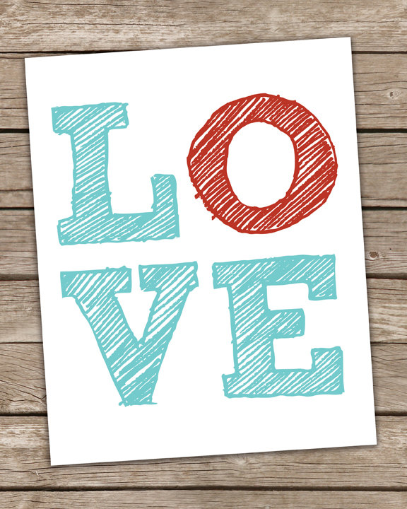 Items Similar To Love Poster Scribble Typography Word Art Poster X Custom Colors Included Block Print Poster Premium Print On Etsy