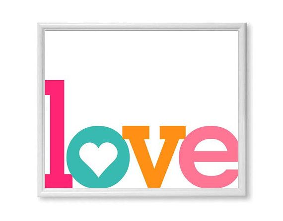 Items Similar To Love Word Art Print Any Color Single Word Love By Itself Typography Wall Art Pink Turquoise Orange Pink On Etsy