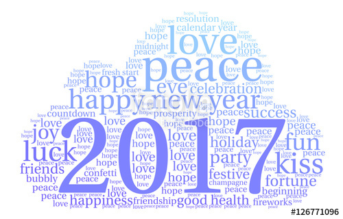 Happy New Year  Word Cloud On A White Background