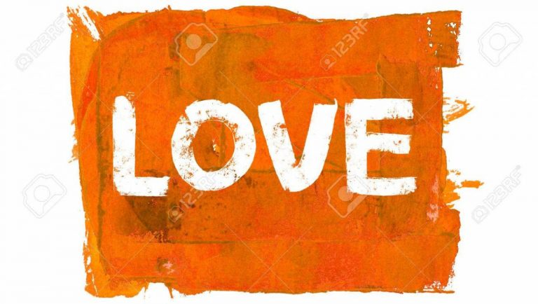 Love Word On Orange Painting Color Background Stock P O