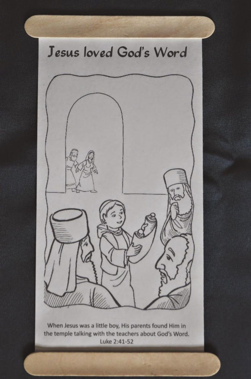 Lesson The Boy Jesus In The Temple Scroll Coloring Page