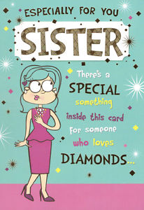 Image Is Loading Funny Humorous Sister Happy Birthday Card X