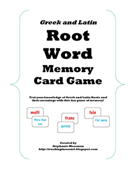 Greek And Latin Root Word Memory Game The Kids Love It And It Really Helps Them To Learn The Roots So Important To Common Core Priced Item