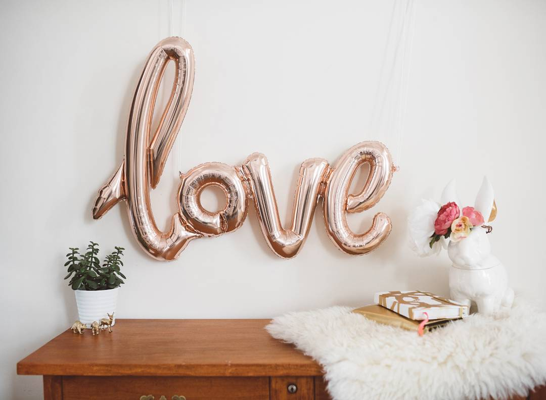 Rose Gold Love Script Balloon Love Is In The Air Make A Statement With This Huge Rose Gold Foil Word Balloon