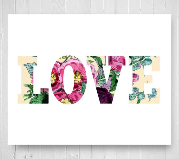 Items Similar To Vintage Floral Word Love Art Print En Ement Wedding Gift Vintage Flower Print X Nursery Art Girls Wall Decor Shabby Chic Word