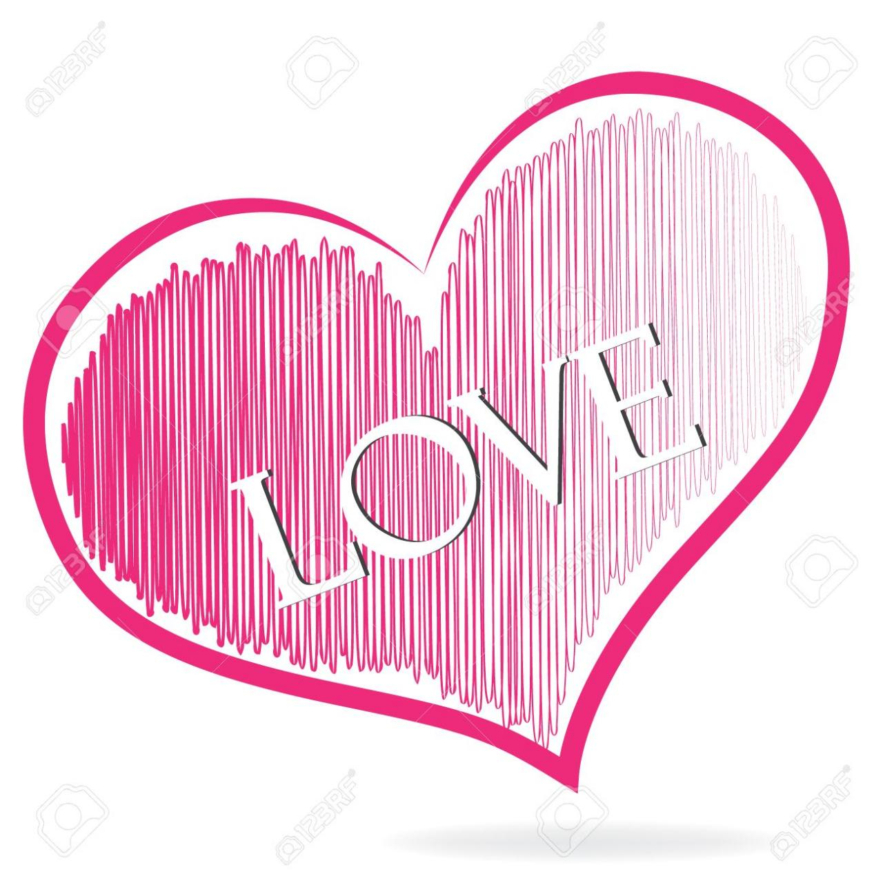 Love Word Pink Heart Symbol Logo Vector Icon Image Template Stock Vector
