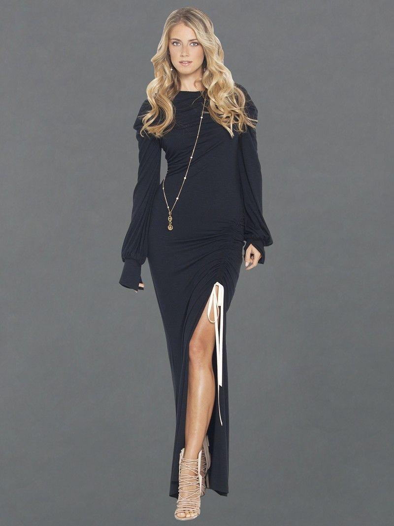 Peace Love World The Liz Slub Drawsting Boheme Black Dress Dresses Women
