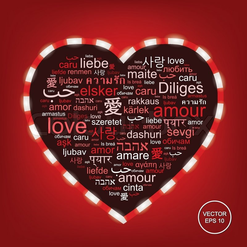 Vector Red Word Cloud Made Of Words Love In Many Languages Forming A Heart Shape Stock Vector Colourbox