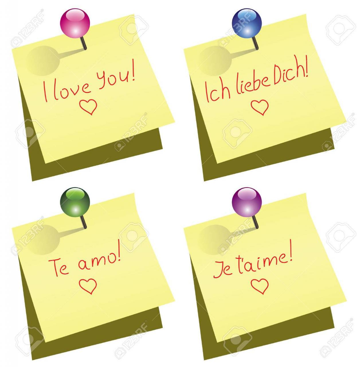 Vector Yellow Paper Notes With Push Pin And I Love You Words In English German Spanish And French