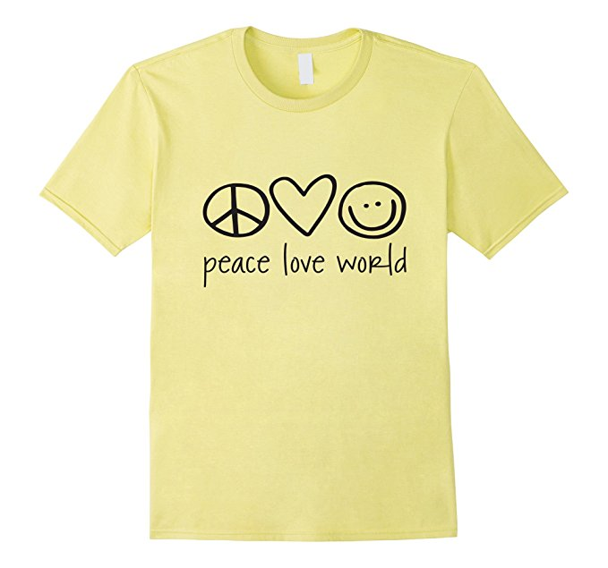 Mens Peace Love World T Shirt Xl Lemon