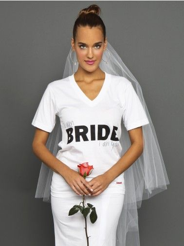 Peace Love World I Am Bride White V Neck Tee