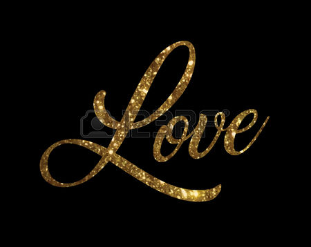 The Golden Glitter Of Isolated Hand Writing Word Love Vector