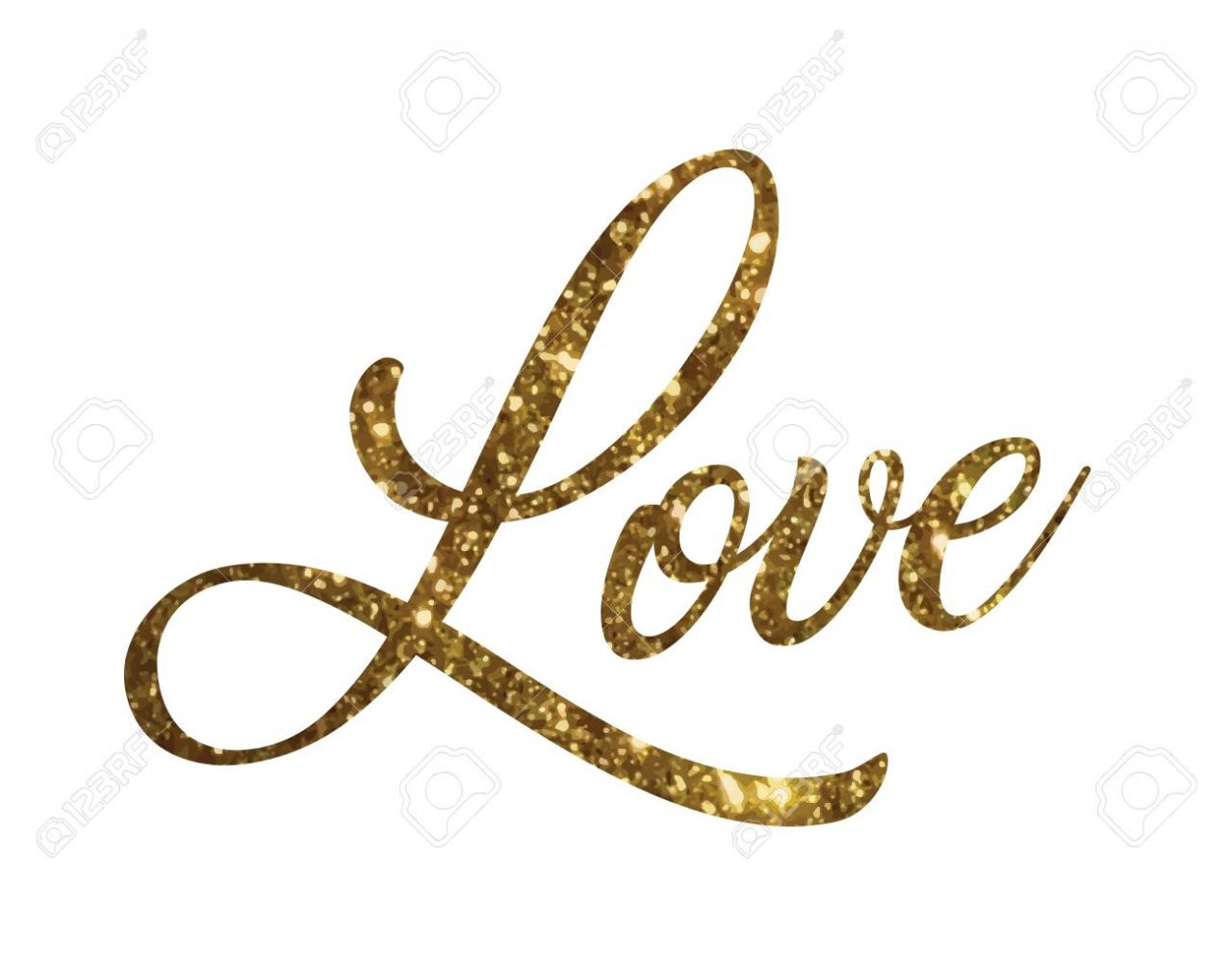The Golden Glitter Of Isolated Hand Writing Word Love Stock Vector