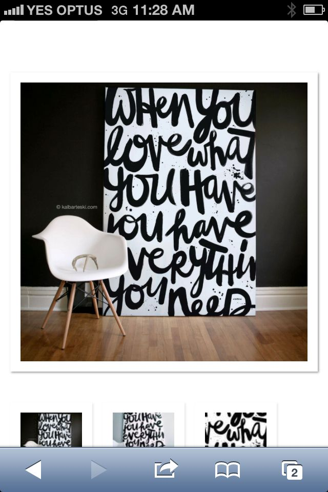 Black And White Love Word Art Canvas
