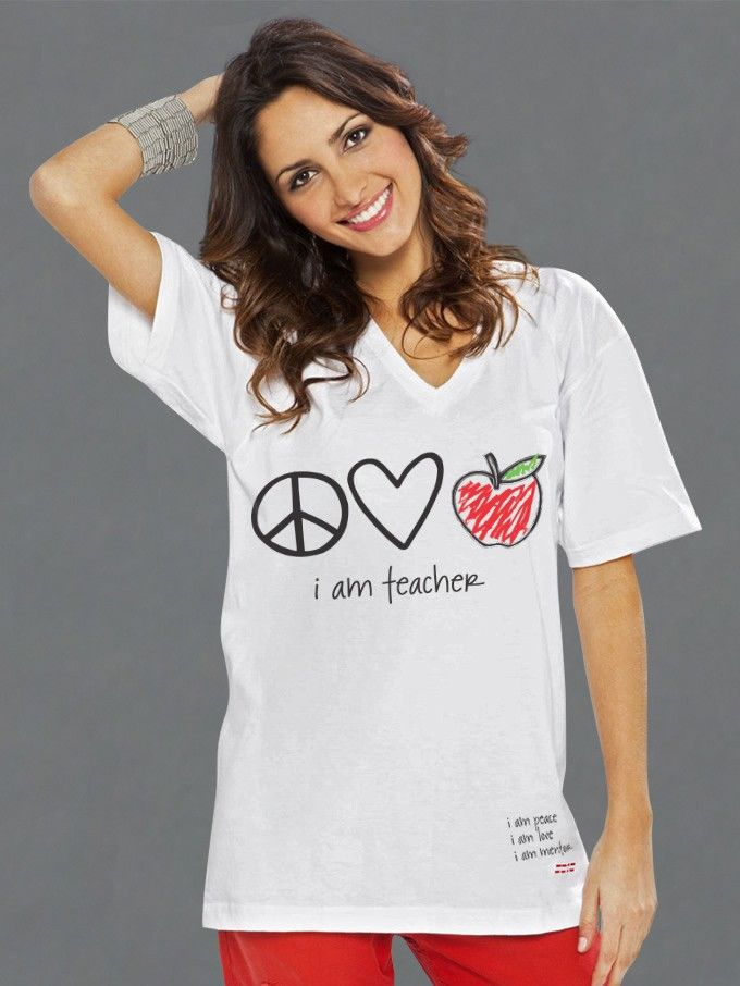 Peace Love World I Am Teacher White V Neck Tee Tops Women