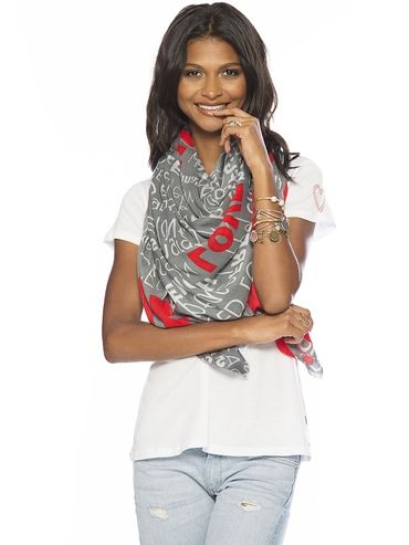 From Peaceloveworld Com  C B This Love Scarf Is So Graphic And Pretty Love Graphic Grey Viscose Scarf