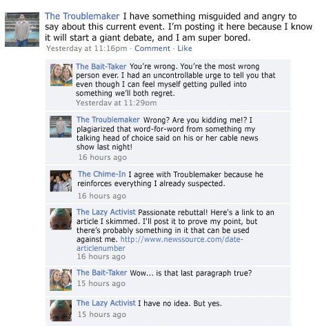 Funny Things C B An Honest Facebook Political Argument By Chase Mitchell Pretty Much Nails It