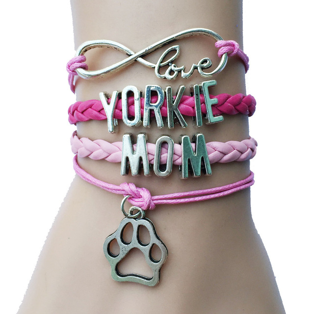 Drop Shipping Infinity Love Dog Breed Yorkie Mom Dog Or Cat Paw Charm Celet Gift For