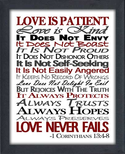 Love Is Patient Black Grey Red