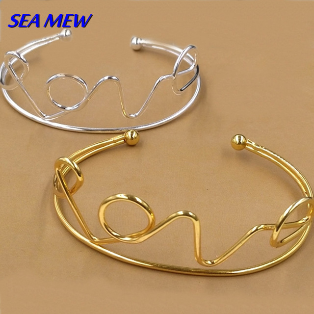 Fashion Style Metal Bangle Hollow Out Love Wordcelet For Women Girls Gift Pcs