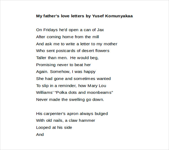 Fathers Love Letter Word Format Free Download