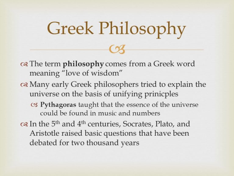 Greek Philosophy The Term