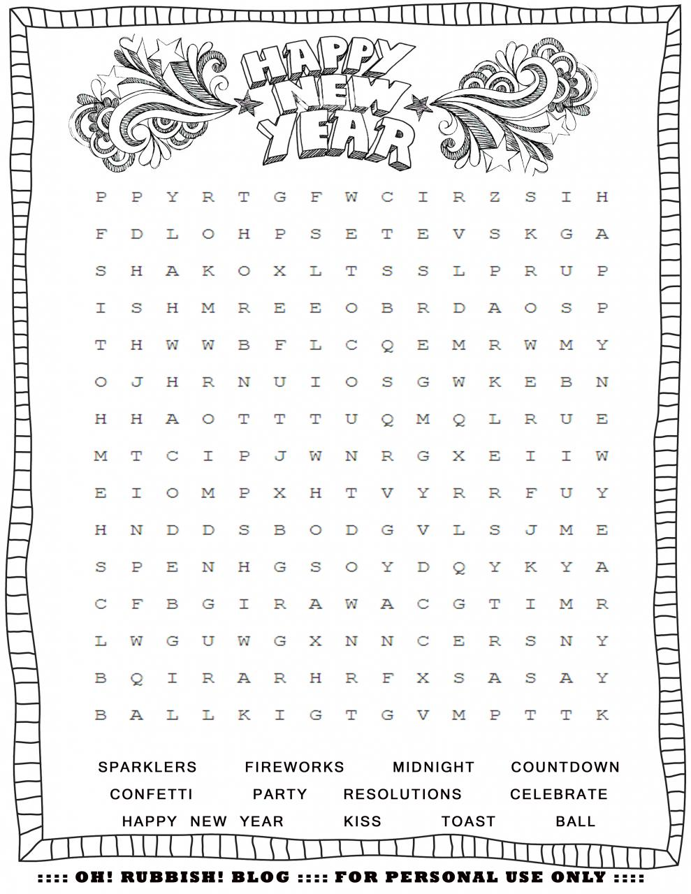 Printable New Year Word Search