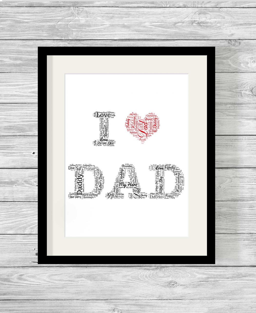 Personalised Bespoke I Love Dad Word Art Print