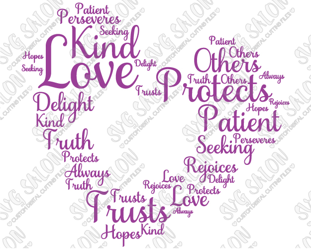 Love Is Patient  Corinthians Bible Verse Word Art Custom Diy Vinyl Sign Or Glblock