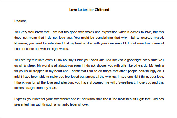 Love Letter For Girlfriend Free Word Download