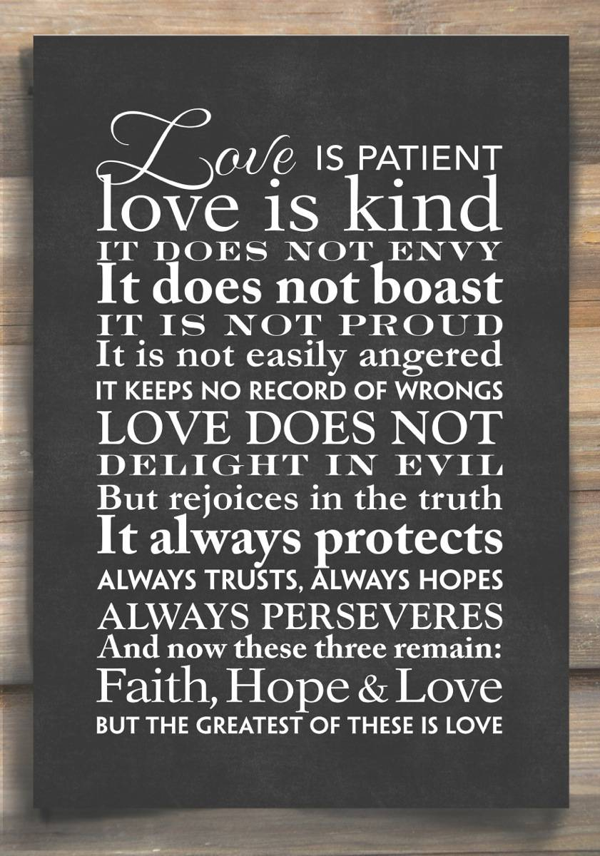 Love Is Patient Word Art Print Black