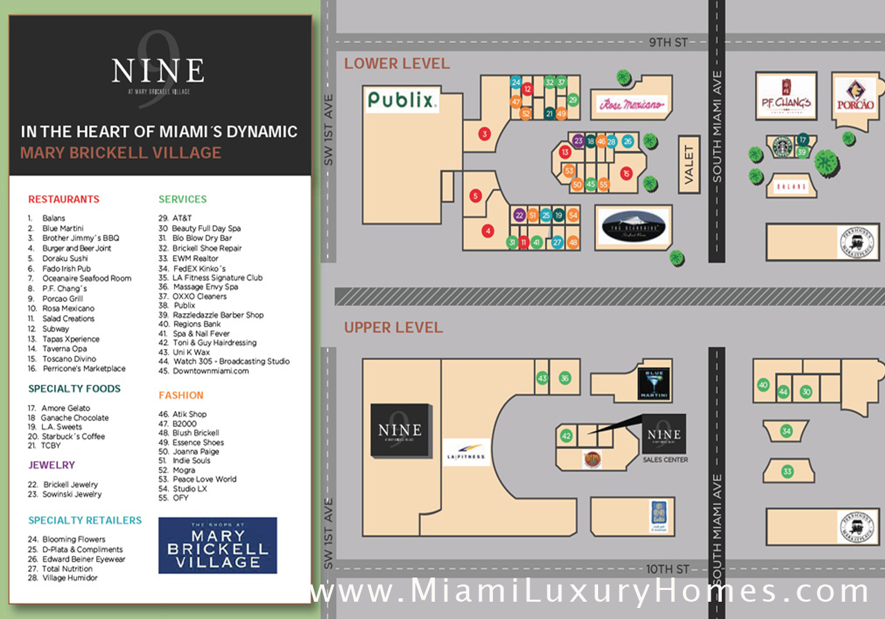 Mary Brickell Village Site Map