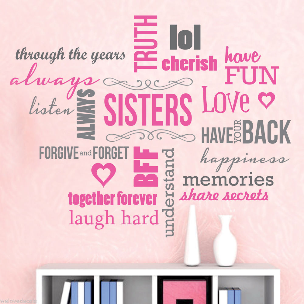 Nice Color Saying Sisters Love Words Quotes Vinyl Wall Decals