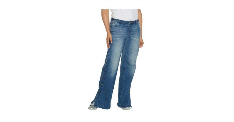 Peace Love World Denim Button Side Pants Selena Gomezs Wide Leg Track Jeans Popsugar Fashion P O