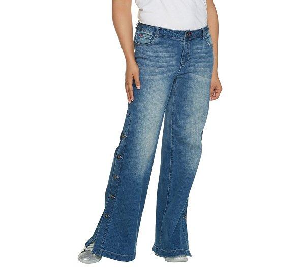 Peace Love World Denim Button Side Pants