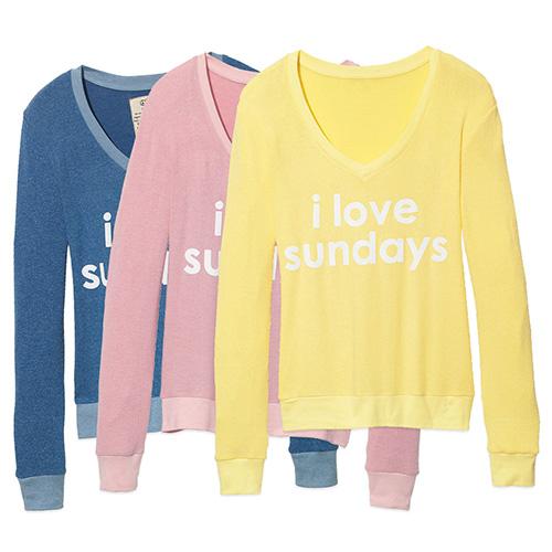 Peace Love World Womens I Love Sundays Comfy Cozy Sweatshirt